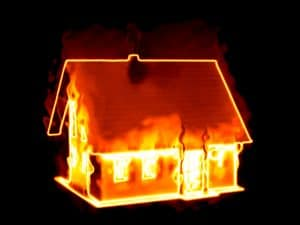 Learn Spanish tips: An illustration of a house on fire