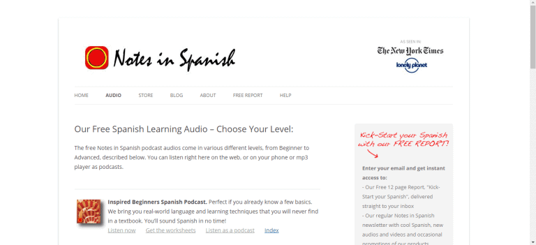 Spanish Podcasts - Notes in Spanish